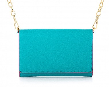 Teal Faux Leather Crossbody Purse Clutch with Removable Gold Chain