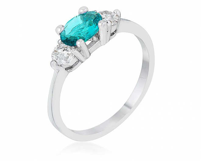 1.2ct. Rhodium Plated Light Blue and Clear CZ Classic Three Stone Ring