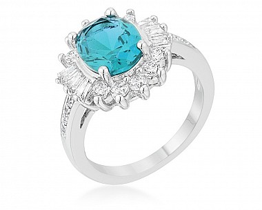 Classic Oval 3ct. Aqua CZ Cocktail Ring