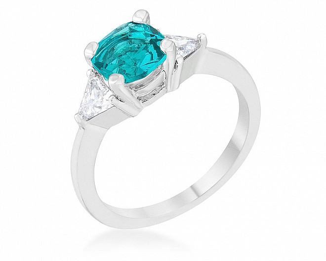 Simple Aqua and Clear Three Stone Ring