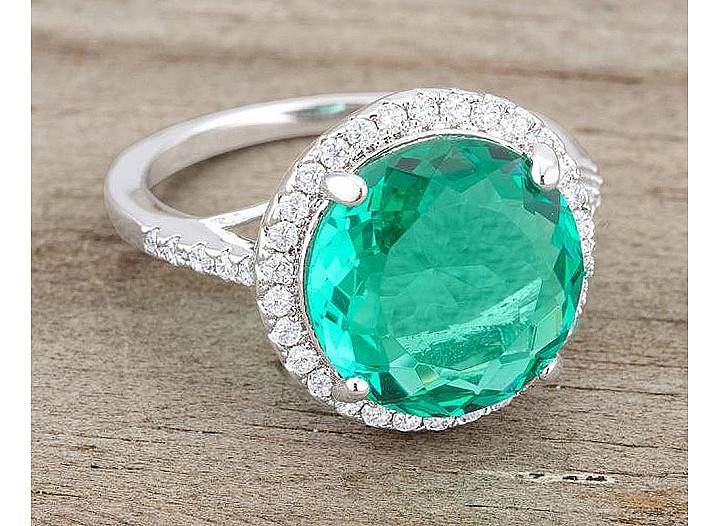 Sparkling Blue Green and Clear CZ Round Cocktail Ring