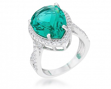 Stunning Blue Green Teardrop Twisted Shank Cocktail Ring