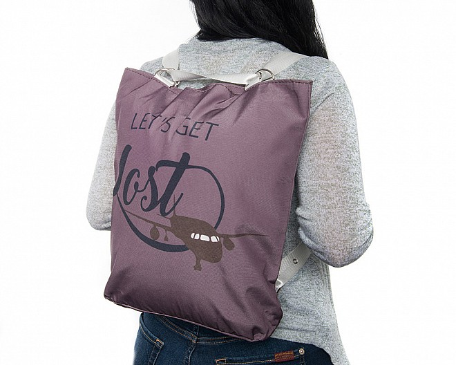 Lightweight Mauve Convertible Backpack - Let's Get Lost
