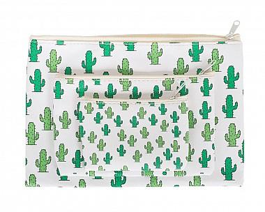 Cute 3 Piece Cactus Cosmetic Bag Set