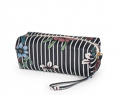 Faux Leather Black Floral Cosmetic Bag