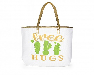 Free Hugs Large Straw Beach Tote