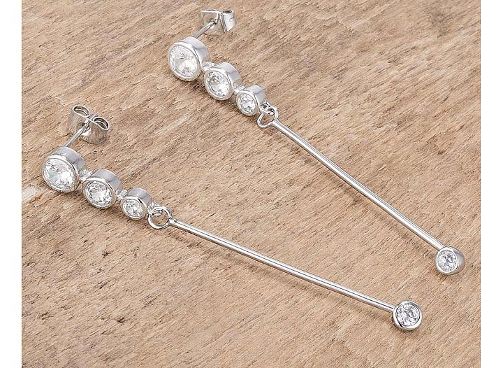 1.2Ct Graduated Rhodium Plated Drop Cubic Zirconia Earrings