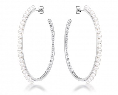 Inside Out .8Ct Cubic Zirconia and Pearl Hoops