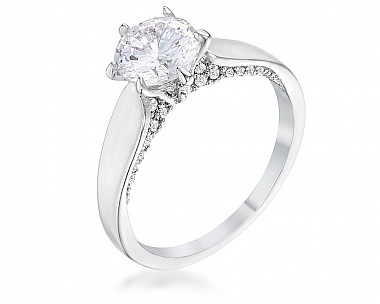 1.56Ct Contemporary Rhodium Plated CZ Solitaire Ring
