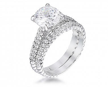 Lynn 0.25ct CZ Rhodium Twisted Duo Band Ring
