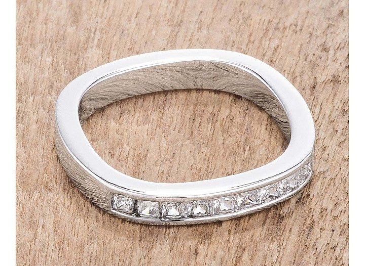 .9Ct Channel Set Princess Cut Rhodium Plated Square Shaped Stackable Band