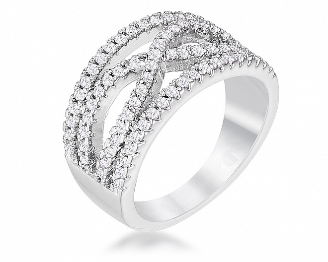 .4Ct Rhodium Plated Classic Twist Wide CZ Ring