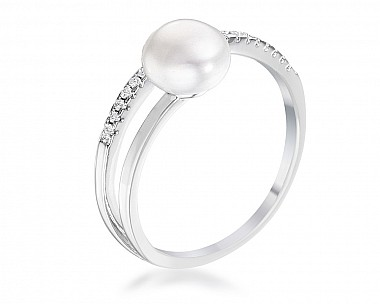 e1fcfdbb916 .15Ct Rhodium Plated Freshwater Pearl Ring With CZ Micro Pave Band .