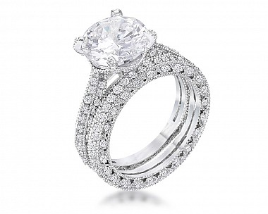 5.32Ct Vintage Rhodium Plated CZ Encrusted Engagement Set