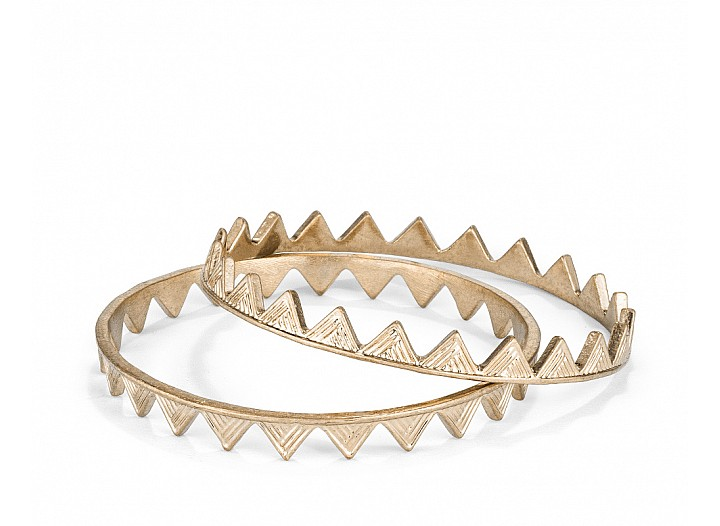 Antique Gold Tone Textured Triangle Bangle (Set of 2)