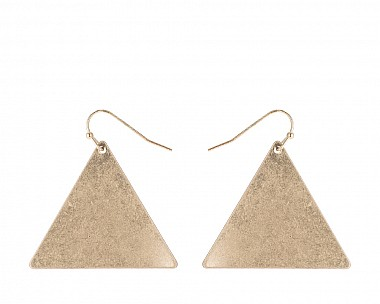 Antique Gold Tone Triangle Drop Earring