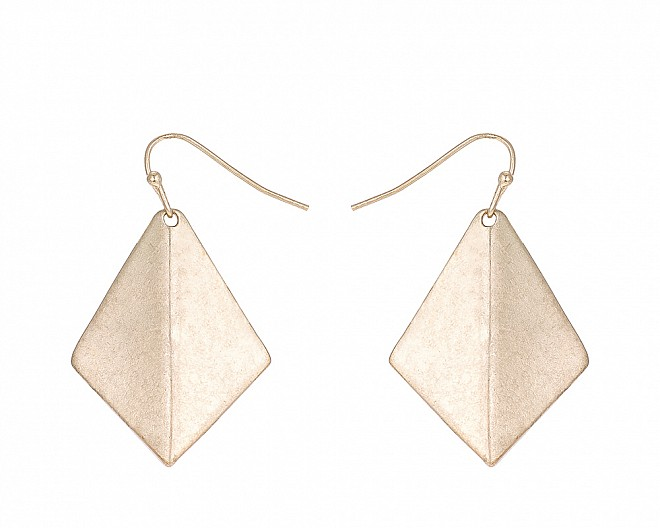 Antique Gold Tone Kite Shaped Drop Earring