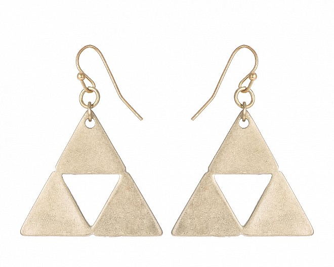 Modern Multi Triangle Antique Gold Tone Drop Earring