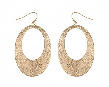 Trendy Boho Chic Antique Gold Tone Textured Large Oval Drop Earring
