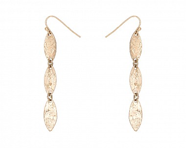 Whispy Antique Gold Tone Hammered Drop Earring