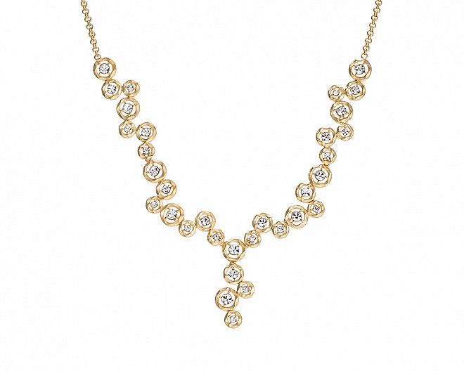 Matte Gold Plated Floating Bubble Clear Crystal Y Necklace