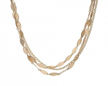 Multi Chain Antique Gold Tone Hammered Station Necklace