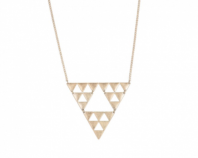 Modern Multi Triangle Antique Gold Tone Necklace