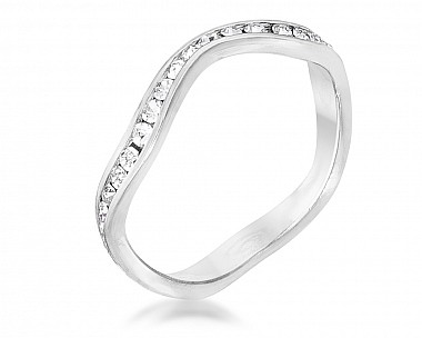 Genuine Plated Petite Wavy Swarovski Crystal Channel Set Stackable Ring
