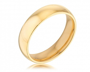 Comfort Fit 5mm Gold Plated Stainless Steel Engagement Band