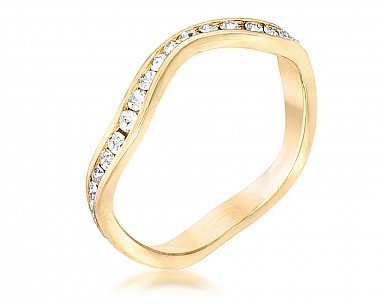 18k Plated Petite Wavy Swarovski Crystal Channel Set Stackable Ring