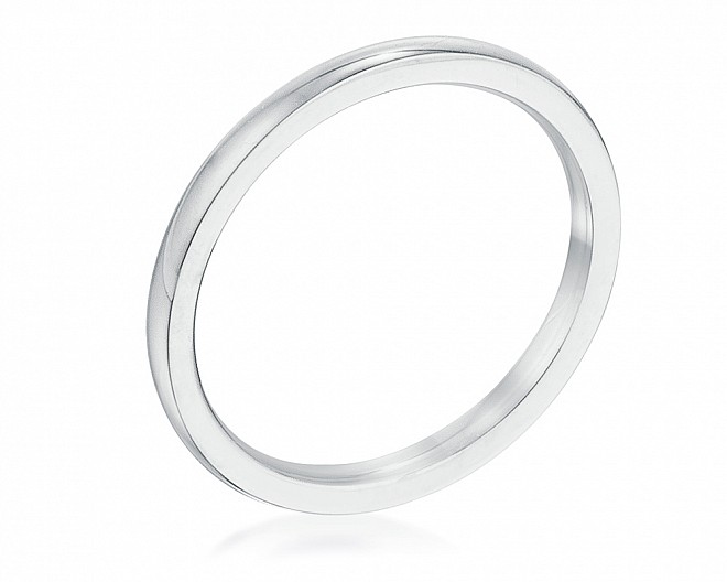 2 mm Rhodium Plated Stainless Steel Wedding Band
