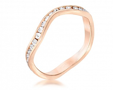 Rose Gold Plated Petite Wavy Swarovski Crystal Channel Set Stackable Ring