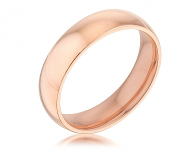 Comfort Fit 5mm Rose Gold Plated Stainless Steel Engagement Band