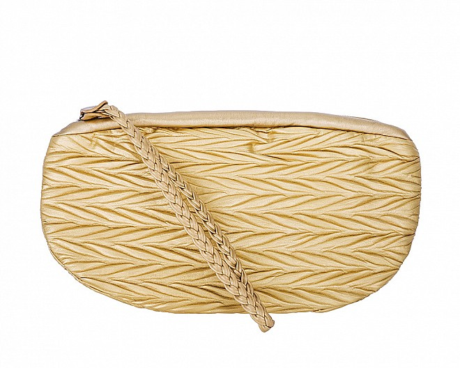 Helen Gold Leather Clutch