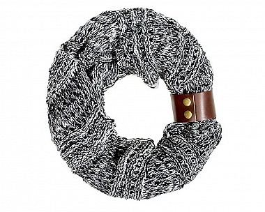 Alicia Crochet Cowl Black Scarf