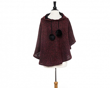 Hannah Hooded Red Poncho