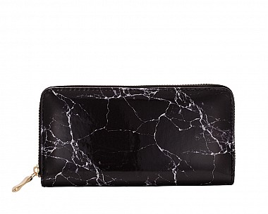 Abby Black Marble Wallet