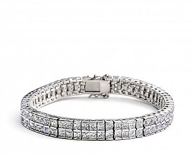 [Vault] Double Row Princess Cut CZ Tennis Bracelet