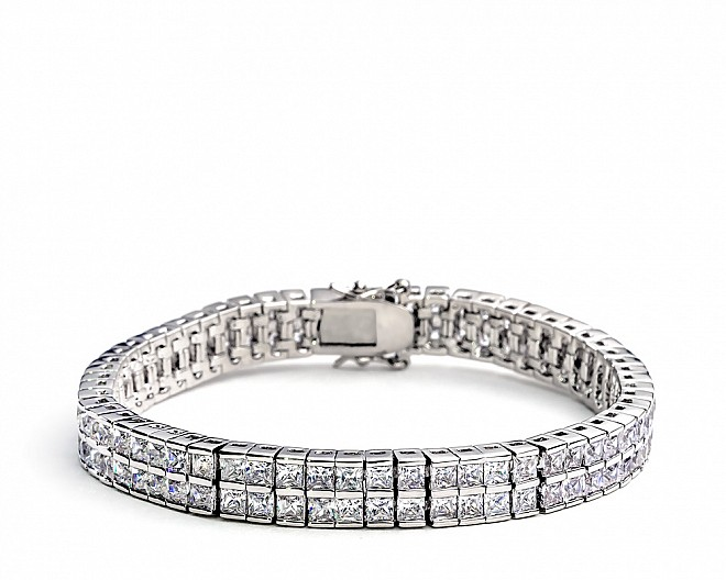 [Vault] Double Row Princess Cut CZ Tennis Bracelet