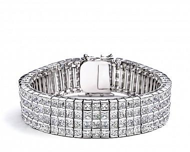 [Vault] 4-Row Princess Cut CZ Tennis Bracelet