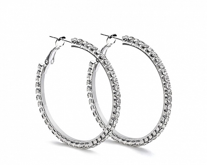 [Vault] Elegant Crystal Hoop Earrings